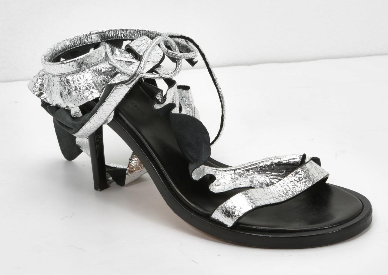 ISABEL MARANT Silber ANSEL Ruffled Metallic Cracked-Leather Sandals 8-38  950