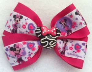 Mickey Reversible Sequin Minnie Ribbon Hair Bow Alligator Clip Baby Girls Random
