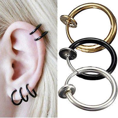 Punk 2pcs Fake Nose Lips Ring Spring Clip Hoop Earring Unisex Piercing Septum
