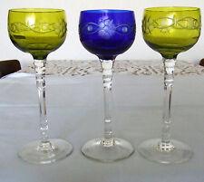 3+1 alte bunte franz. Weingläser (Kristall/Handarbeit) 1x blau GRATIS mit Defekt