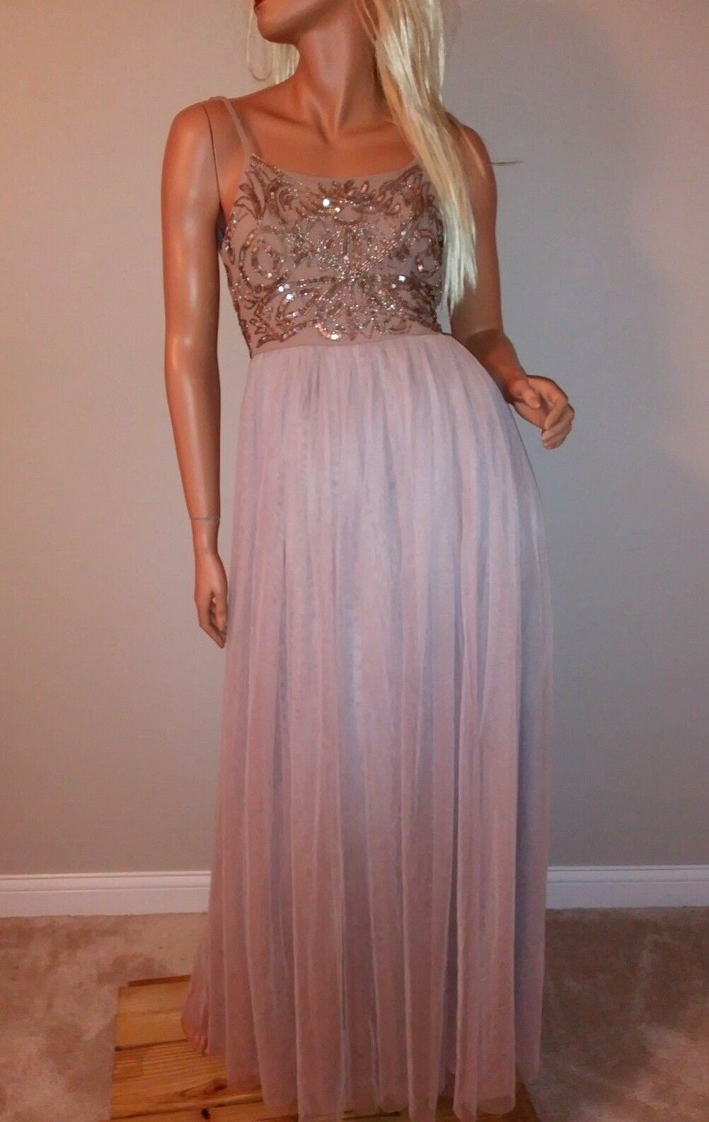 New  maya bridesmaid wedding cami strap  embellished tulle maxi dress us 12