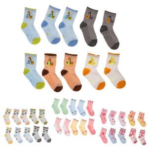 5-Paires-Chaussettes-Bebe-Enfants-Fille-Garcon-Multicolore-Coton-Doux