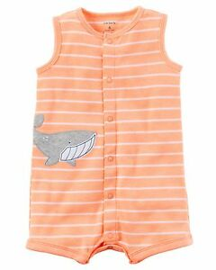 60279e38 New Carter's 9 Month Baby Boy One Piece Romper Outfit Set Orange ...