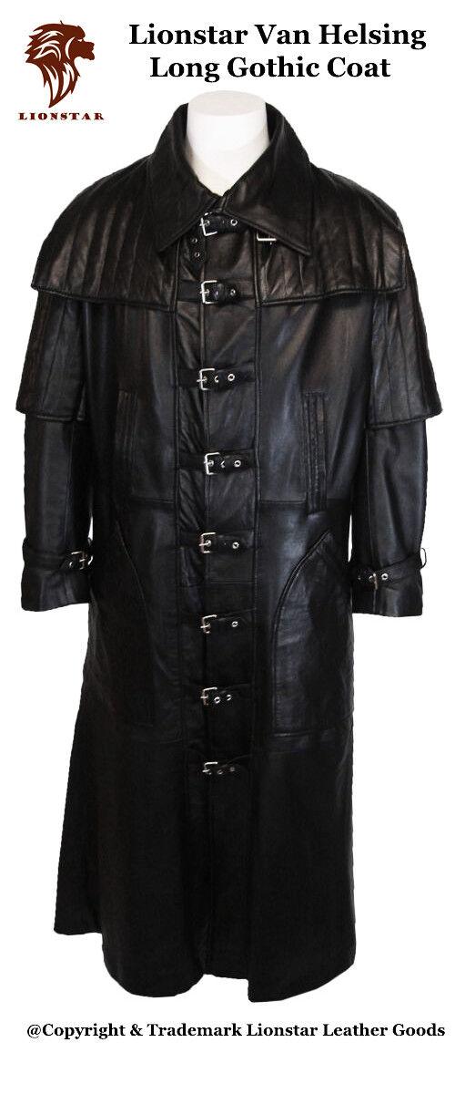 Lionstar Van Helsing Vampire Gothic Steampunk Vintage Real Leder Long Coat