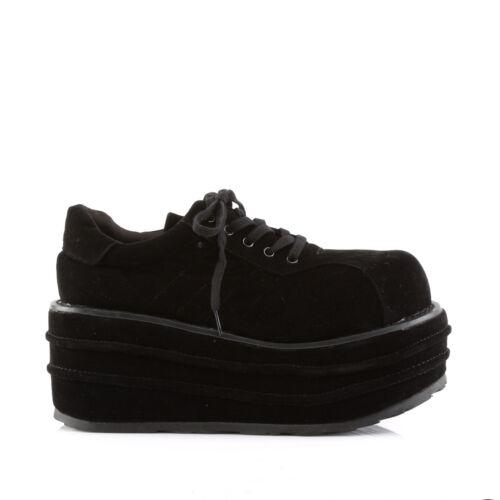Demonia Tempo 08 Rare Unisex Goth Punk Vegan Black Faux Suede Shoes