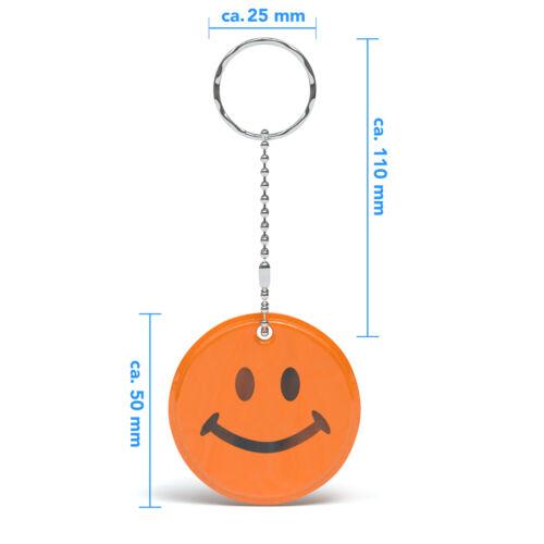 5x Reflektor Anhänger für Schulranzen Rucksack Jacke Kinder Schutz Smiley Orange