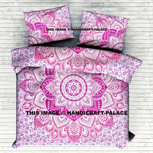 Indian Duvet Quilt Cover Ombre Mandala King Size Bedding Ethnic Boho Blanket Set