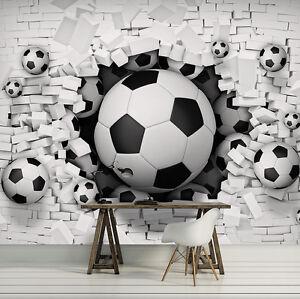 Tapete-Fototapete-Tapeten-Wand-Ziegel-Fussball-Ball-Kunst-3D-13N3383P8