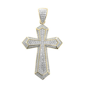 Real Solid Sterling Silver 14k Yellow Gold Tone Religious Cross Charm Pendant
