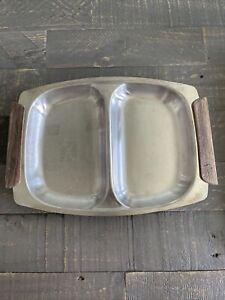Vintage MCM Sleek Aluminum Serving Tray with Wooden Handles Simple Minimalist
