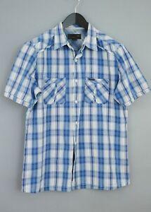 buy popular b6e0c 1cd62 Dettagli su Uomo Mcs Marlboro Classics Camicia Casual Blu Cotone Maniche  Corte Taglia XL