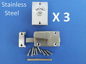 3-X-INDICATOR-BOLTS-STAINLESS-STEEL-BATHROOM-TOILET-DOOR-LOCK-VACANT-ENGAGED