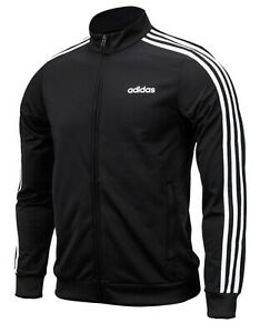 68c7014dfc64 Adidas Men Essential 3S Tricot Track Jacket Running Black Top GYM ...