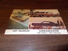 1967 AMC Ambassador and Marlin Vintage Advertising Postcard