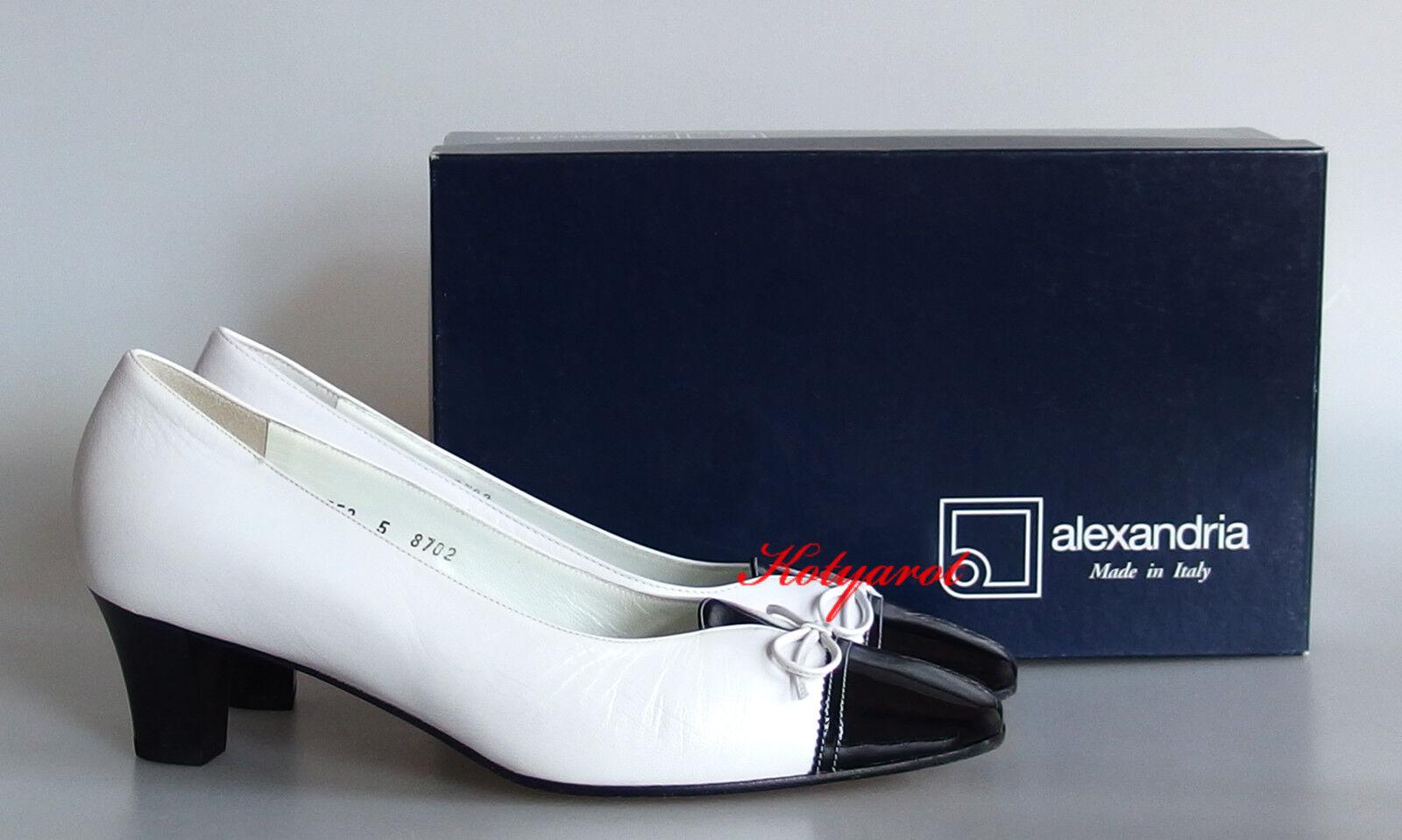 Alexandria Komfort Pumps Abendschuhe Schleife echt Leder Fußbett Weiß Schwarz