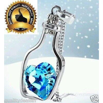 Blue Women's Crystal Love Heart Drift Bottle Pendant Necklace Gift