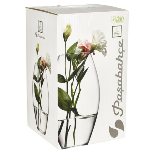Pasabahce Decorative Tall Curved 28.5cm Clear Glass Vase Flower Wedding Display