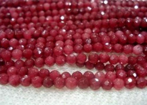 NATURAL BRAZILIAN Ruby Faceted Round Loose Beads Gemstone environ 38.10 cm 4 Mm 15 in