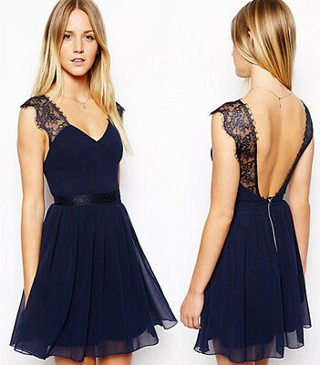 Women Lady Sexy backless Chiffon Slim Lace Bodycon For Cocktail Party Dress