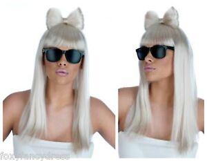 Long-White-Blonde-Wig-amp-Bow-Lady-Gaga-Diva-FREE-Black-Glasses-Fancy-Dress