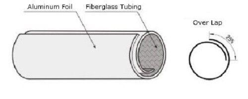 Retrofit Aluminio Reflectante De Envolver Cinta Adhesiva 16mm de fibra de vidrio
