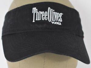 Black Three Olives Vodka Brand Logo Embroidered Visor Hat Cap ... 30cd42bbbbc9