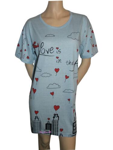 Ladies Girls New Nightwear Crew Neck Printed Short Sleeve One Size Night Shirts