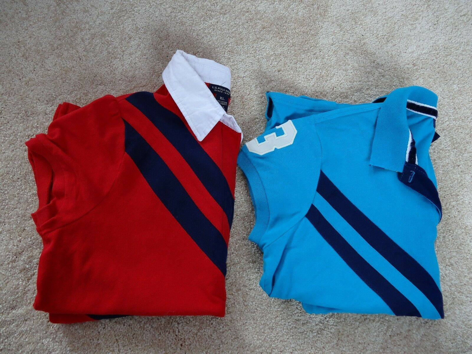 2986e1bcb16ac5 2 x Womens US Polo Assn. Polo Shirts - bluee   Red. Size XL size 14 ...
