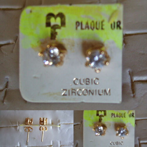 Très jolies boucles d/'oreilles percées plaqué or zirconium 5mm stock limité,..