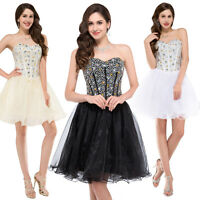 BEADED GIRL'S Short Wedding Party Prom Bridesmaid Evening Cocktail Dresses