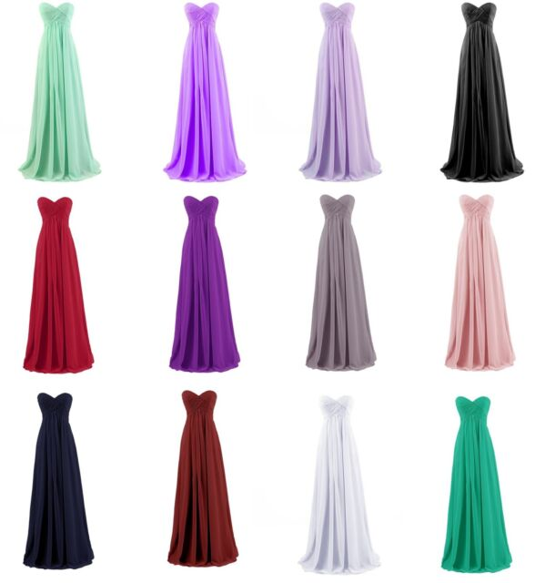 Simple Long Chiffon Evening Party Formal Gowns Strapless Prom Bridesmaid Dress