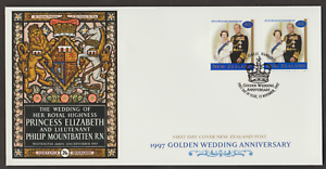 (F99)NEW ZEALAND 1997 GOLDEN WEDDING ANNIVERSARY OF QE II FDC