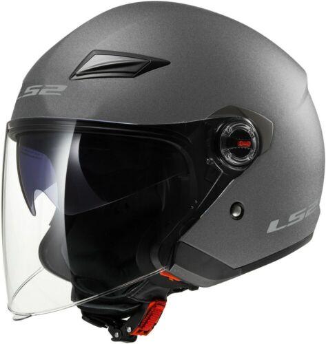 LS2 Track OF569 Solid Open Face Motorcycle Helmet Gunmetal
