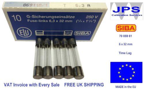 T6.3A250V Time Lag Slow Blow Glass Fuse 6 x 32mm 250V 6.3A VAT Invoice JPSF371