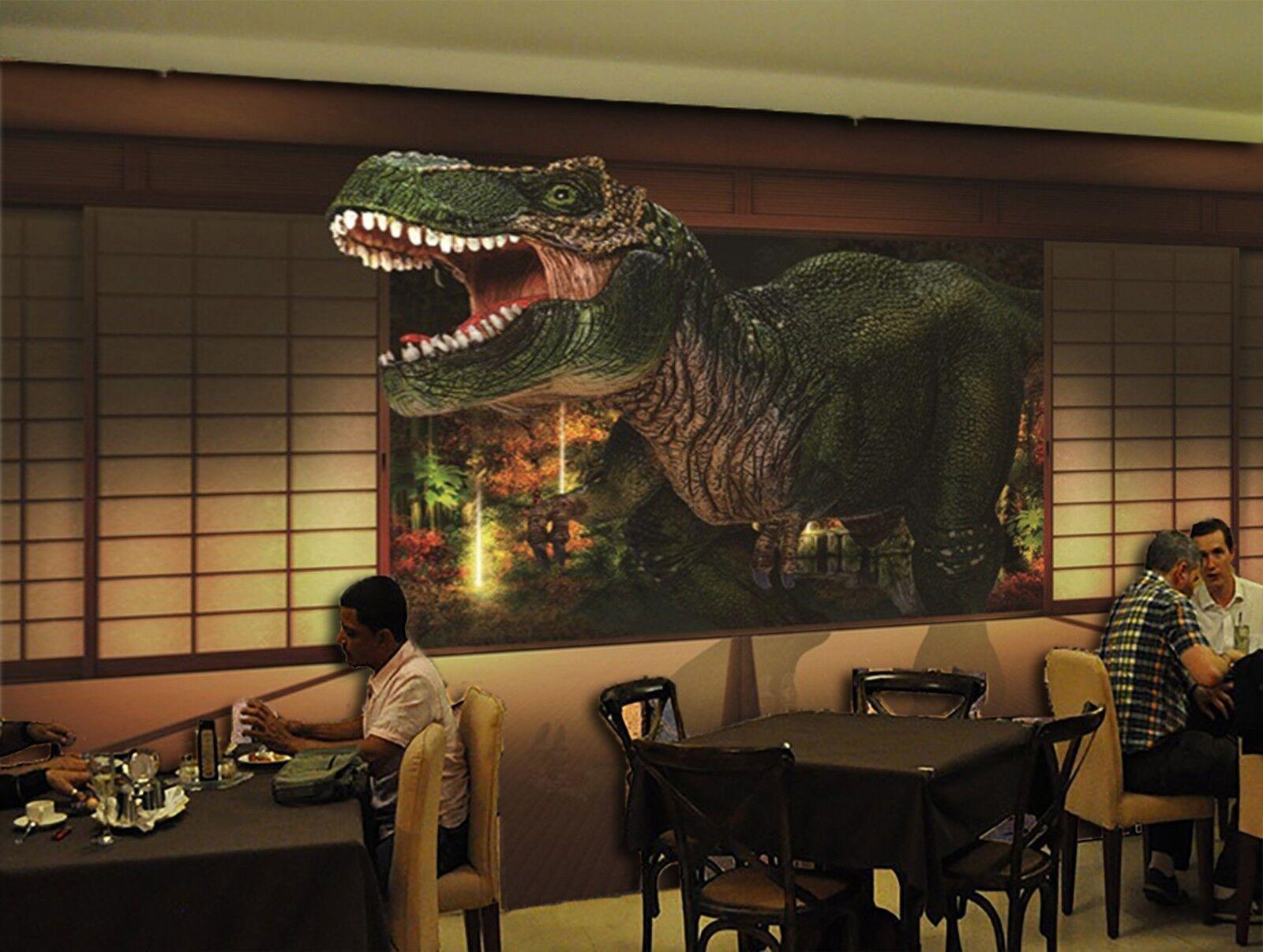 3D roar dinosaur Wall Paper Print Decal Wall Deco Indoor wall Mural