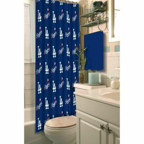 MLB Los Angeles Dodgers Shower Curtain Official Merchandise Blue White Polyester