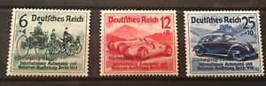 GERMANY 1939 3rd REICH MI # 695-697 SC # B141-143  Nuerburgring RACES  MNH