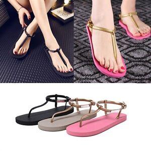 Womens-Bohemia-Flat-Shoes-Sandals-Thong-Slippers-Beach-T-strap-Flip-Flops-Pop