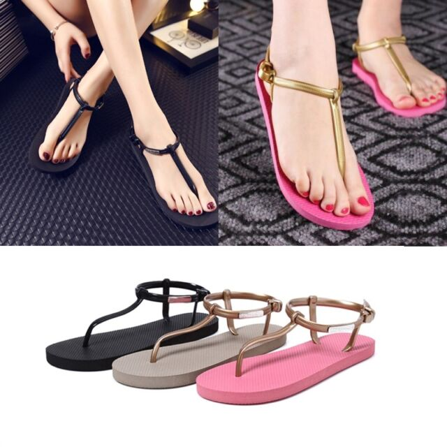 Womens Bohemia Flat Shoes Sandals Thong Slippers Beach T-strap Flip Flops Pop