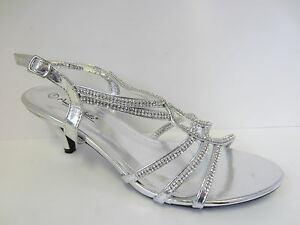 Ladies-Silver-Anne-Michelle-Strappy-Diamante-Shoes-UK-Sizes-3-8-F10299