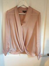 Topshop Nude Blush raso Wrap Front Camicetta Camicia
