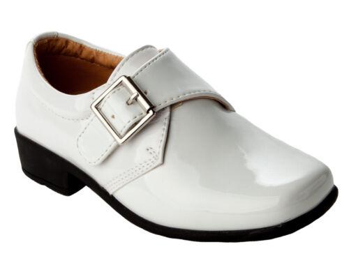 Garçons blanc brevet formel mariage page garçon robe de confirmation chaussures enfant taille 7-2