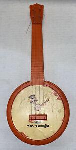 Vintage MCM Emenee Mr. Banjo Collectible Toy Orange Stringed Instrument Free Shp