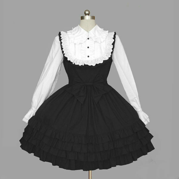 Ladies Sweet Black White Gothic Lace Ties Cosplay Lolita Dress Outfit Costume