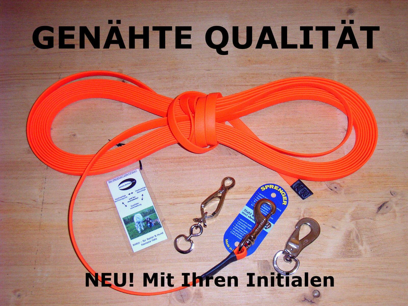 15m BioThane Schleppleine 13mm Orange Feldleine Suchleine Fährtenleine