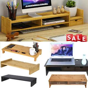 TV-Computer-Monitor-Riser-Stand-Desk-Organiser-Large-Keyboard-Storage-Box-shelf
