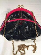 Isabella Fiore black patent leather clutch purse shoulder bag pink trim
