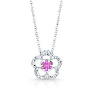 Pink Sapphire Diamond Flower Pendant Necklace 18K White Gold Round Cut Womens