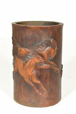 Asian Chinese Bamboo Carving / Carved Brush Pot / Pen Holder w running horse