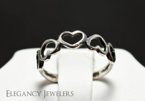Adjustable .925 Sterling Silver Five Linked Hearts Summer Toe Ring